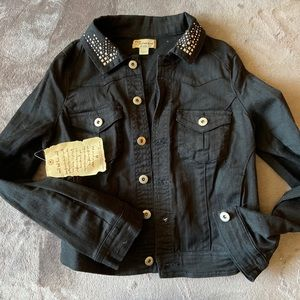 black denim jacket with embellishments on collar.